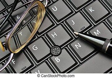 tastatur, stift, brille
