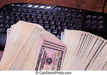tastatur, und, geld, a, ort, für, musikplatten, geschäftsplan, geld, hintergrund, hundert dollar, rechnungen, front, side., hintergrund, von, dollar, neu , hundred-dollar, bil, gesicht, copyspace, einkommen, in, internet
