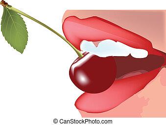 taste - biting a cherry