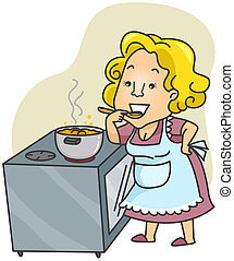 Illustration of a Woman Tasting the Food She is Preparing
