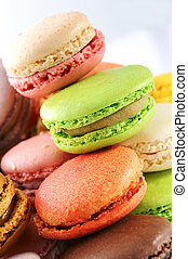 tasted macaroons - Colorful macaroons on white background