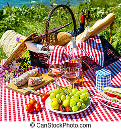 picnic on the grass - tasted picnic on the grass near a lake