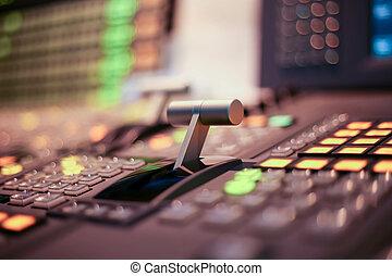tasten, fernsehen, fernsehapparat, sendung, switcher, produktion, studio, station, video, ton