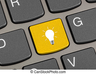 tastiera, chiave, lampada, computer