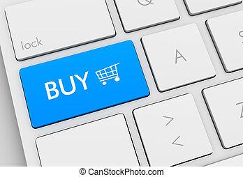 tastiera, comprare, concetto, illustrazione, 3d