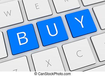 tastiera, comprare, illustrazione, 3d