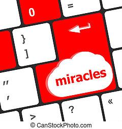 tastiera computer, chiave, bottone, con, miracoli, testo