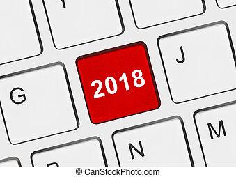 tastiera computer, con, 2018, chiave