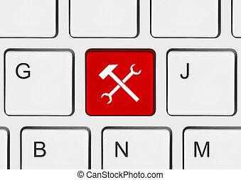 tastiera computer, con, attrezzi, chiave