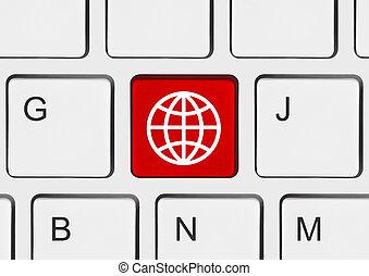 tastiera computer, con, globo, chiave