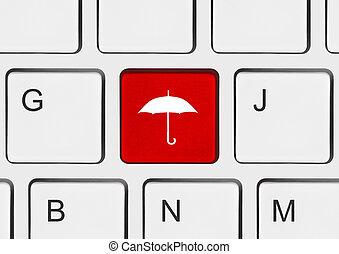 tastiera computer, con, ombrello, chiave