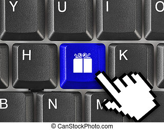 tastiera computer, con, regalo, chiave