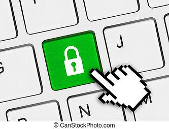tastiera computer, con, sicurezza, chiave