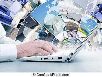 tastiera computer, e, sociale, media, immagini
