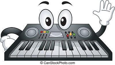 tastiera, elettronico, mascotte