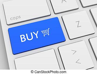 tastiera, illustrazione, comprare, concetto, 3d