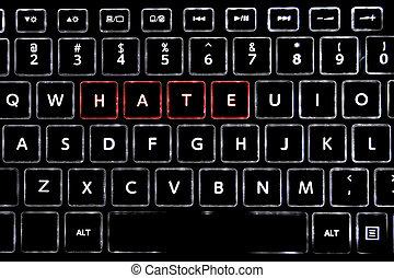 tastiera, parola, scritto, retroilluminato, buttons., condotto, odio