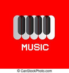tastiera pianoforte, su, rosso, astratto, musica, fondo