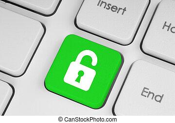 tastiera, serratura, verde, accesso, aperto, concetto, bottone
