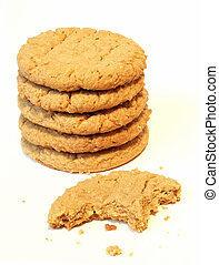 tasting a cookie from the stack - stack of cookies with a...