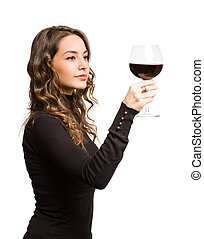 Tasting great wine. - Cool fashionable young brunette woman ...