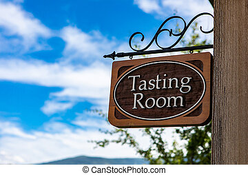 Tasting room wooden classic sign