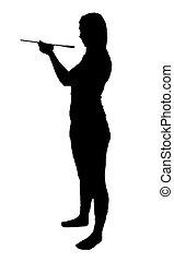 Tasting woman silhouette on white