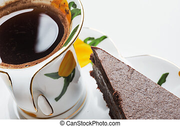 tasty a chocolate cheese cake with cup of coffee