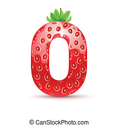 Tasty alphabet - Letter O in strawberry style with green...