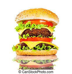 Tasty and appetizing hamburger on a white background