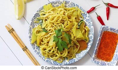 Tasty and Fresh Noodles with Chicken and vegetables served ...