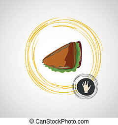 Tasty and juicy sandwich on a light. Vector design