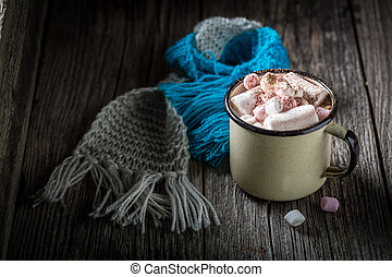 Tasty and sweet cocoa for Christmas with marshmallows