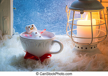 Tasty and sweet snowman made of marshmallows for xmas