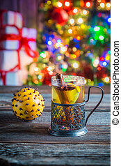 Tasty and sweet tea and gingerbread cookies for Christmas