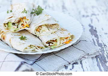 tasty appetizer in pita bread