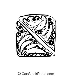 Apple Pie - Tasty Apple Pie Icon with Berries. Hand Draw...