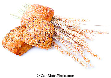 tasty baked with ears of wheat, isolated on a white background