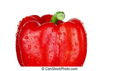 Tasty organic red bell pepper with green stem covered with clear water drops turns right side on white background extreme closeup