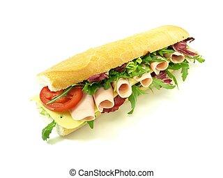 Tasty, big sandwich with ham for sn