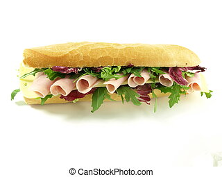 Tasty, big sandwich with ham for snack