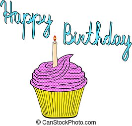 tasty birthday cupcake with candle pop art style comic vector illustration, on white background