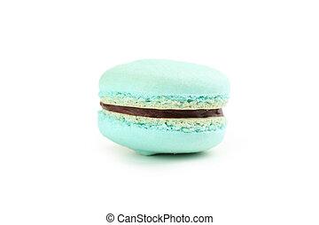 Tasty blue macaron isolated on white