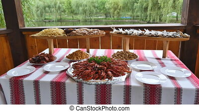 Tasty boiled crayfishes on table.