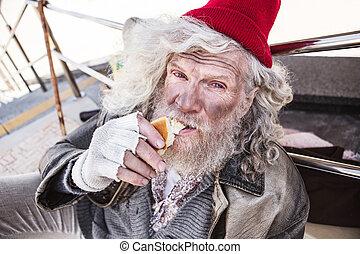 Nice poor man eating food