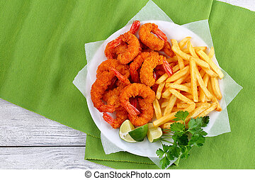 tasty breaded Fried Shrimps and french fries