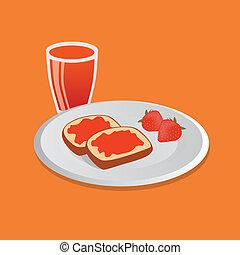 breakfast - tasty breakfast - bread with marmelade on white...