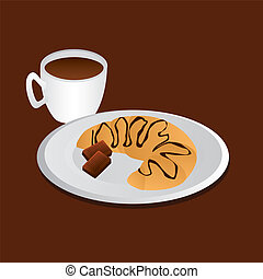 tasty breakfast - croissant, chocolate and coffee