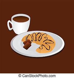 breakfast - tasty breakfast - croissant, chocolate and...