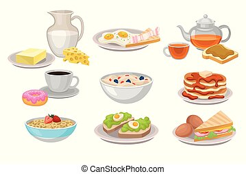 Tasty breakfast. Dairy products, corn flakes and oatmeal, pancakes and donut with coffee, sandwiches and fried eggs. Flat vector set